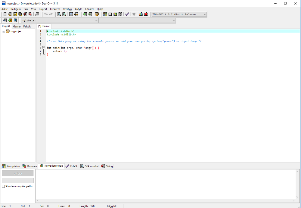 The project shown in your IDE