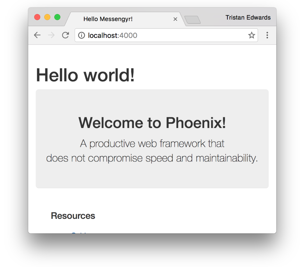 If you go back to the browser, you should see your new text. Phoenix comes with live reloading bundled in, so any changes that you make to your files are visible almost instantly!